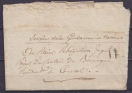 """L. Datée 19 Fructidor An 9 (1800) Du Commandant De La Gendarmerie De BERINGEN Pour COURCEL (Kourcel) - Man. """"Service De - 1794-1814 (French Period)"""