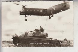 MILITÄR - FLUGZEUGE - Bundeswehr, Hubschrauber Vertol  H 21 & Panzer M 48 - Material