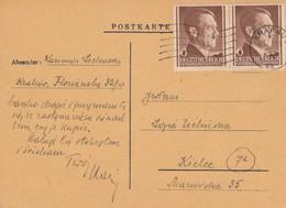 GG: MeF Auf Postkarte Von Krakau Nach Kielce - Besetzungen 1938-45