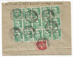 GANDON 4FR VERT BLOC DE X15+ N°827 AU VERSO LETTRE REC CLICHY LA GARENNE 25.3.1949 POUR PARIS - 1945-54 Marianne Of Gandon
