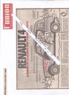 Publicité ; La Renault 4 (4 L) Coupure Du Journal L'UNION . Le Confort Et La Sécurité Pour Traverser L'hiver. - Werbung