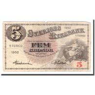 Billet, Suède, 5 Kronor, 1952, 1952, KM:33ai, B+ - Suecia