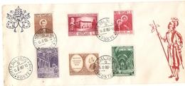 TIMBRE  VATICAN  ENVELOPPE S. DOMENICO SAVIO SAN CLEMENTE  S. MARIA IN COSMEDIN PIE XII - Covers & Documents