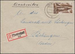 Baden 13 Münster 1 M EF Not-R-Zettel R-Brief WALDSHUT 14.4.48 Nach Säckingen - Zone Française