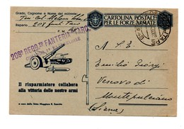 CARTOLINA POSTALE PER LE FORZE ARMATE FANTERIA TARO 1943 - 1900-44 Vittorio Emanuele III