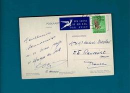 TP Afrique Du Sud 7 1/2  C Maize + Vignette By Airmail  Sur Cpa - Afrique Du Sud (1961-...)