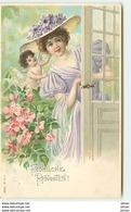 N°7691 - Carte Fantaisie Gaufrée - Fröhliche Pfingsten - Femme Et Angelot - Frauen