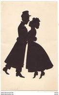 N°12866 - Silhouette - Couple S'enlaçant - Cartes Animées Lambert - Silhouettes