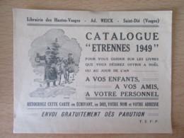 """Librairie Des Hautes-Vosges, Ad. WEICK, Saint-Dié - Carte Publicitaire Du Catalogue """"Etrennes 1949"""" - Publicités"""