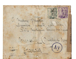 B16  12 05 1943 Espagne / France (hotel Dieu A Marseille) Censures - 2. Weltkrieg 1939-1945