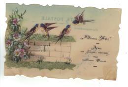 CPA Fantaisie Celluloïd Peinte à La Main Bonne Fête Oiseaux Sur Muret Fleurs Fantaisy Birds 1907 - Other