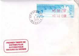 France - Lettre De 1999 - Oblit Forbach - Premier Timbre Distributeur En Euro - 1990 «Oiseaux De Jubert»