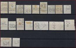 BELGIQUE - PERFORE - LOT De 18 TIMBRES PERFORES BELGES - PERFINS ; LOOK 2 SCANS ! - Lochung