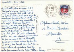 1966 - CACHET HEXAGONAL D'AGENCE RURALE De SPERACEDES (ALPES MARITIMES) Sur CP De CANNES Pour MARSEILLE - 1961-....