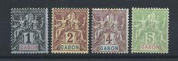 Gabon N°16/19 (*) (MNG) 1904 - Gabon (1886-1936)