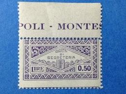 MARCA BOLLO COMUNALE NUOVA MNH** CON FASCIO 0.50 DIRITTI DI SEGRETERIA STEMPELMARKE FISCAUX TAX REVENUE FISCAL MUNICIPAL - 1900-44 Vittorio Emanuele III