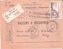 85f. EVIAN Sur Valeurs à Recouvrer Oblitéré BEAULIEU SUR DORDOGNE Corrèze Pour NONARDS Corrèze - Poststempel (Briefe)