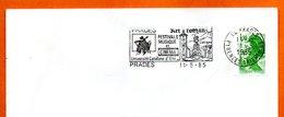 66 PRADES MUSIQUE ET CINEMA  1985 Lettre Entière N° JK 429 - Mechanische Stempels (reclame)