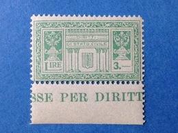 MARCA BOLLO COMUNALE NUOVA MNH** CON FASCIO 3 LIRE DIRITTI STATO CIVILE STEMPELMARKE FISCAUX TAX REVENUE FISCAL MUNICIPA - 1900-44 Vittorio Emanuele III