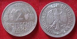 GERMANY 2 DEUTSCHE MARK 1951 D. ALLEMAGNE. - [ 7] 1949-… : RFA - Rep. Fed. Alemana