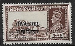 INDIA - GWALIOR 1938 4a SG 110 MOUNTED MINT Cat £75 - Gwalior