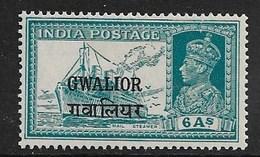 INDIA - GWALIOR 1939 6a SG 111 MOUNTED MINT Cat £20 - Gwalior