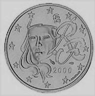 MONNAIE 1 Cent 2000 FRANCE  Euro Fautée Non Cuivrée Etat Superbe - Abarten Und Kuriositäten