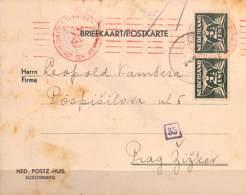 [91951]TB//O/Used-Pays-Bas, Carte Postale Vers Prague, Cachet Rouge Avec Croix Gammée - Lettres & Documents