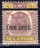 Selangor 1900 1c/5c SG66a - Mint Previously Hinged - Selangor