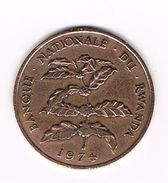 -&  RWANDA  5 FRANCS 1974 - Rwanda
