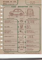 Fiche Descriptive RTA Etude 179 Fiat 500 Et 500D - Voitures