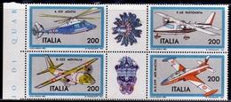 ITALIA REPUBBLICA ITALY REPUBLIC 1981 COSTRUZIONI AERONAUTICHE AEREI PLANES BLOCCO BLOCK SERIE COMPLETA COMPLETE SET MNH - 1981-90: Mint/hinged