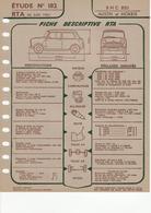 Fiche Descriptive RTA Etude 182 BMC 850 Austin Morris - Voitures