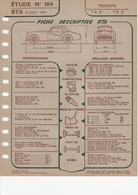 Fiche Descriptive RTA Etude 184 Triumph TR2 TR3 - Voitures