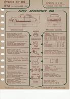 Fiche Descriptive RTA Etude 185 Citroen DS 19 - Voitures