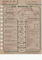 Fiche Descriptive RTA Etude 187 4CV Renault - Voitures
