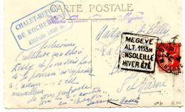"""Flammes Daguin :sur CP  De  Megève (Haute Savoie)  """"Megève-alt.1113m-ensoleillé-hiver été."""" 1934 - 1921-1960: Période Moderne"""