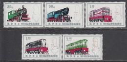 Albania 1989 - Trains, Mi-Nr. 2383/87, MNH** - Albania