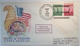 "WW2 US NAVY BASE ""MARINE DET.ARGENTIA NEWFOUNDLAND 1941""USA Patriotic Cover(Canada Censored Lettre Guerre 1939-45 War - 1908-1947"