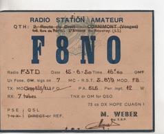 CPA.cartes QSL.F8NO.M.Weber.St Etienne Du Rouvray.pour Duroquier F3TD - Radio Amateur