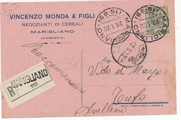 1920 FLOREALE 0,45 CENT SINGOLO ISOLATO SU CARTOLINA RACCOMANDATA - 1900-44 Vittorio Emanuele III