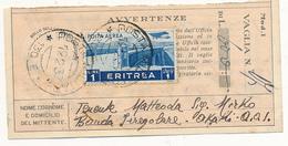 1937 COLONIE ITALIANE ERITREA 1 LT PA ISOLATO SU  CEDOLINO VAGLIA POSTA MILITARE 130 - Marcophilie