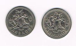 -&  BARBADOS 2 X 25 CENTS  1973/78 - Barbades