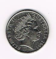 -&   AUSTRALIE   20 CENTS  2005 - Monnaie Décimale (1966-...)