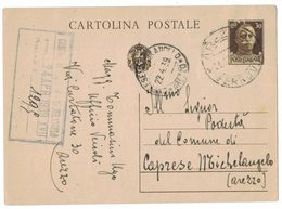 IC128   Cartolina Postale Cent.30 Da Arezzo Per Caprese Michelangelo 22.04.1939 - Ganzsachen