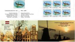 Latvia 2002 . Amphilex 2002. Fish:30. Booklet Of 6. Top/bot Imp.    Michel # 575D  MH - Lettonie