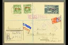 """1916  Registered Cover To Switzerland, Franked ½d X2 & 2½d, SG 115, 118, Apia 01.09.16 Postmarks, Censor """"2"""" Cachets App - Samoa"""