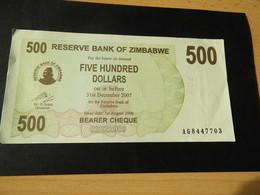 Bank Of Simbabwe  500 Dollars 2006 - Simbabwe
