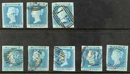1841  2d Blue Plate 3 Three Examples 'CA', 'FF' & 'SH' And Plate 4 Five Examples 'MG', 'MH', 'OA', 'RE' & 'SK', Very Fin - 1840-1901 (Viktoria)