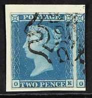 """1841  2d Blue Plate 3 With """" 9 """" IN MALTESE CROSS Cancellation, SG 14f, Very Fine With 4 Margins, Tied To Piece. For Mor - 1840-1901 (Viktoria)"""